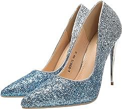 Ashley A (AA-BONNIE09 Sexy Stiletto Dressy Heels Glitter Party Pumps, Wedding Shoes Evening Dress Heels for Women