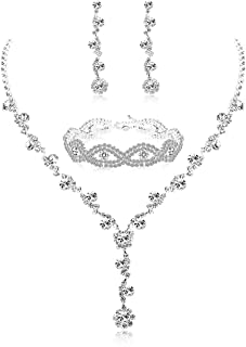 Udalyn Rhinestone Bridesmaid Jewelry Sets for Women Necklace and Earring Set for Wedding with Crystal Bracelet