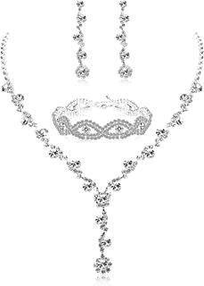 Rhinestone Bridesmaid Jewelry Sets for Women Necklace and Earring Set for Wedding with Crystal Bracelet