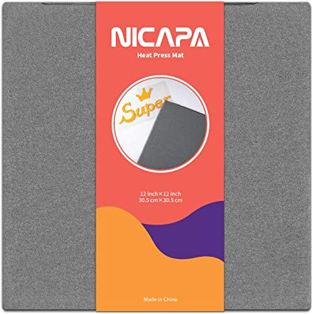 Nicapa 12x12 inch Heat Press Mat for Cricut Easypress/Easypress 2 Craft Heating Transfer Vinyl HTV Ironing Insulation Heating Mats