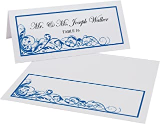 Documents and Designs Scribble Vintage Swirl Place Cards (Select Color), Royal Blue, Set of 150