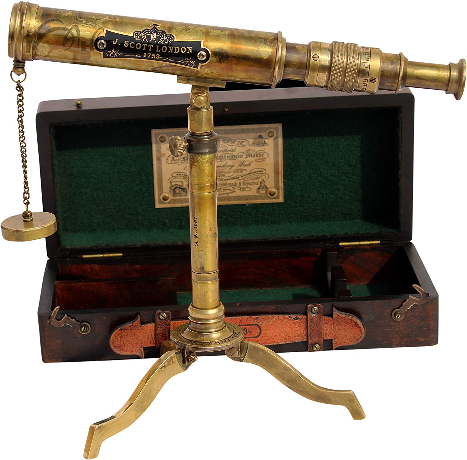 MAH 11inch Vintage Style Marine Spyglass Brass Stand Telescope with Wooden Box. C3201