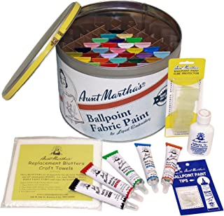 Aunt Martha's Full Stocked Ballpoint Paint Color Caddie, Fully Loaded with 34 Paints and Accessories