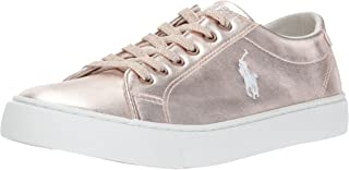 POLO RALPH LAUREN Kids Unisex Slater Sneaker, Rose Gold/Metallic, 4.5 Medium US Little Kid
