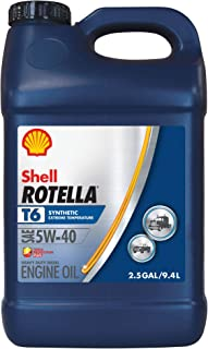 Shell Rotella T6 Full Synthetic 5W-40 Diesel Engine Oil (2.5-Gallon, Case of 2)
