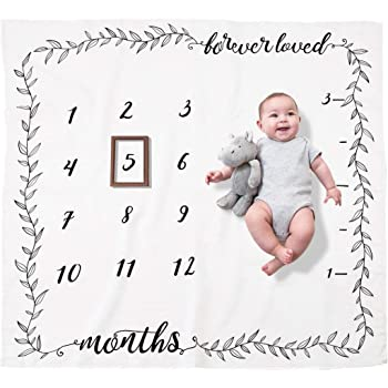 Amazon Com Organic Baby Monthly Milestone Blanket For Boy Or Girl Forever Loved Baby Growth Chart Picture Blanket With Month Marker Newborn To 12 Months Milestones Neutral Nursery Decor Baby Shower
