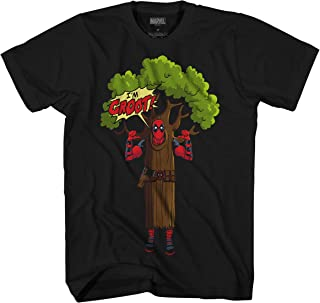 Deadpool I am Groot Logo Mens T-Shirt (Small, Black)