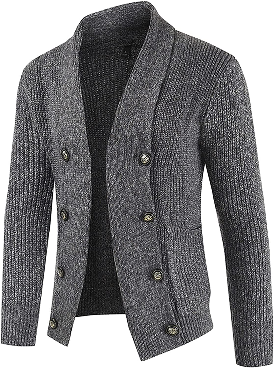 XXBR Cardigans Sweater for Mens, Wool Knit Button Open Front Lapel Collar Business Casual Blazers Flomal Outerwear Coat