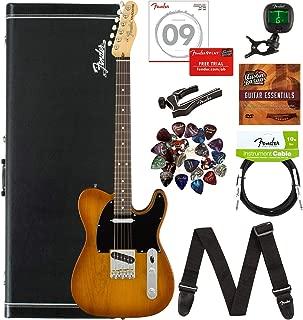 Fender American Performer Telecaster, Rosewood - Honeyburst Bundle with Hard Case, Gig Bag, Cable, Tuner, Strap, Strings, Picks, Capo, and Austin Bazaar Instructional DVD