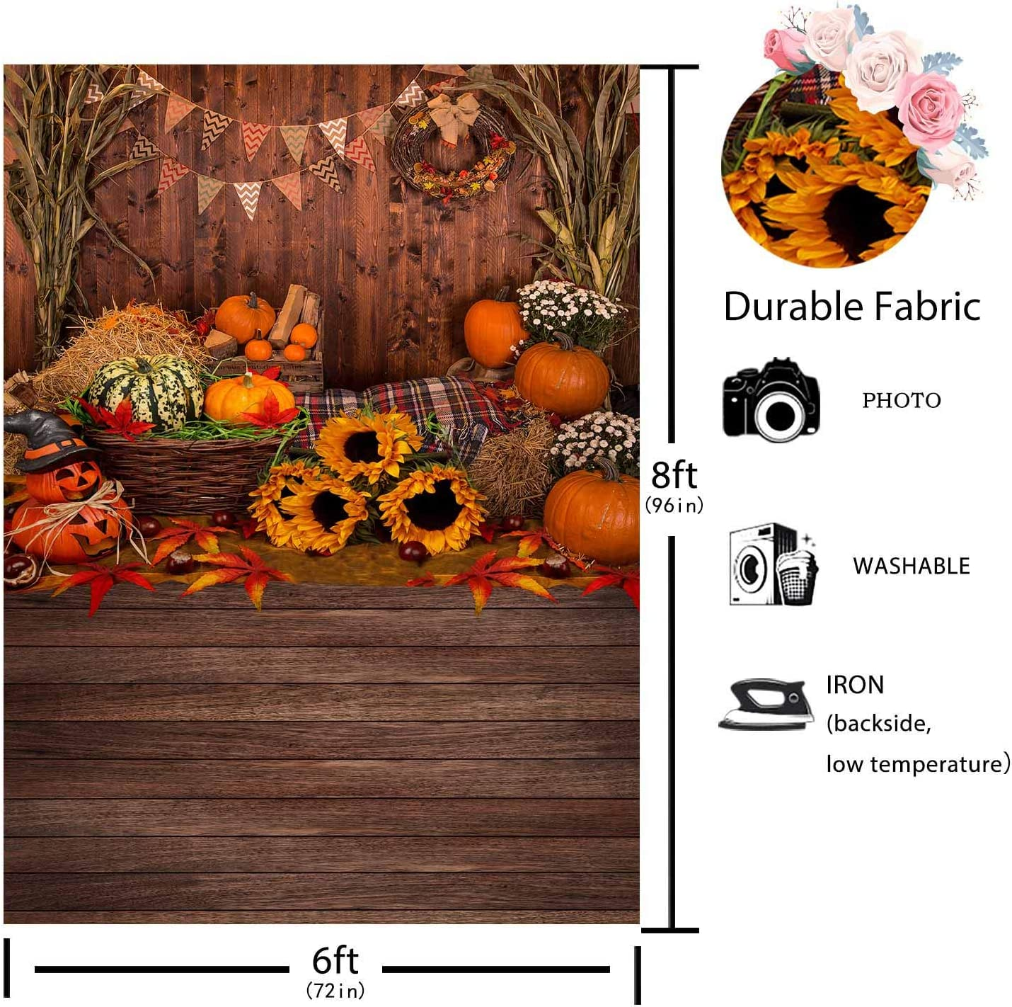 Funnytree 10x8ft Durable Fabric Fall Thanksgiving Photography Backdrop No Wrinkles Rustic Wooden Floor Barn Harvest Background Autumn Pumpkins Maple Leaves Baby Portrait Party Photo Studio Booth Props