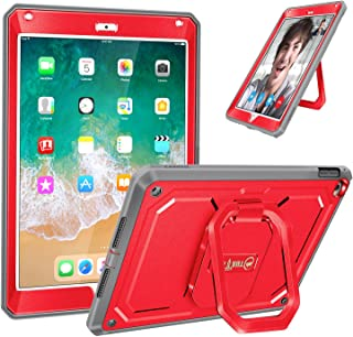 Fintie iPad 9.7 Inch 2018/2017 Case - [Tuatara Magic Ring] 360 Rotating Multi-Functional Grip Stand Shockproof Fully-Body Rugged Cover with Built-in Screen Protector, Also Fit iPad Air 2, Red