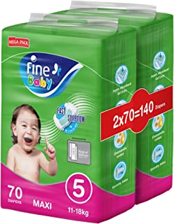 Fine Baby Diapers, Size 5, Maxi 11–18 kg, Mega Pack, 70 Diapers x Pack of 2