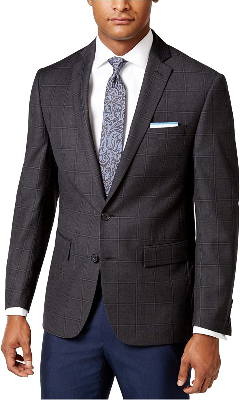 Ryan Seacrest Mens Windowpane Two Button Blazer Jacket