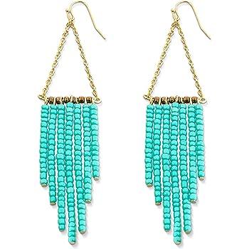 Gold Dangle Earrings, Stunning Turquoise Earrings | Turquoise and Gold Earrings 14k Gold Bohemian Earrings Dangle Earrings for Women
