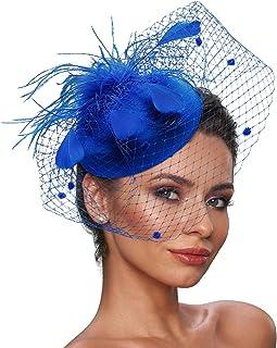 کلاه زنانه زنانه Zivyes Fascinator کلاه Pillbox با سربند محجبه و سربستر چای مخصوص پارچه چای دار