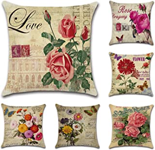 Tebery 6 Pack Vintage Flower Style Throw Pillow Covers Cases Cotton Linen Square Decorative Cushion Covers for Sofa,Couch - 18 x 18 Inches