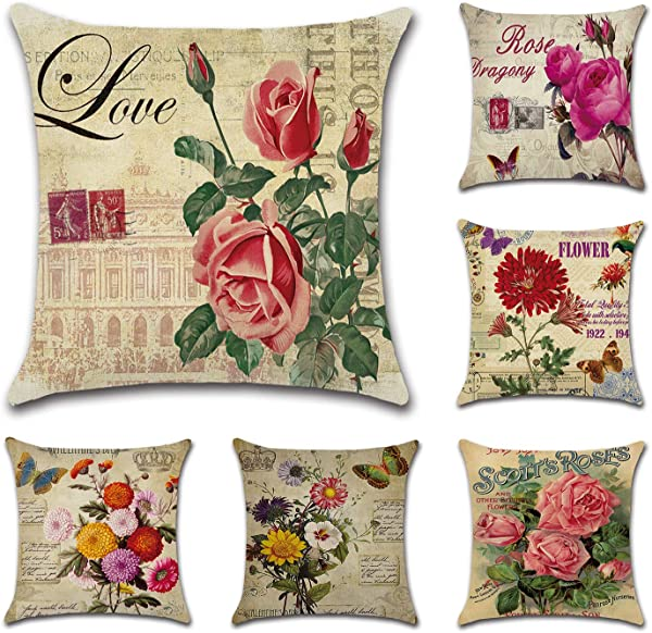 Tebery 6 Pack Vintage Flower Style Throw Pillow Covers Cases Cotton Linen Square Decorative Cushion Covers For Sofa Couch 18 X 18 Inches