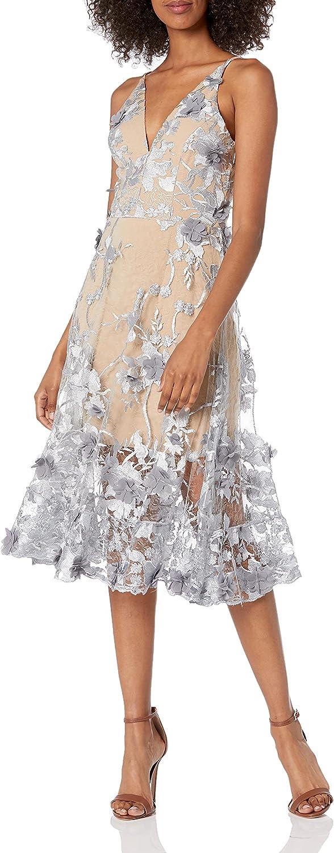 Dress the Population Women's Audrey Spaghetti Strap MIDI A-LINE 3D Floral Dress, Mineral Blue/Nude, XS