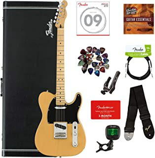 Fender Player Telecaster, Maple - Butterscotch Blonde Bundle with Hard Case, Cable, Tuner, Strap, Strings, Picks, Capo, Fender Play Online Lessons, and Austin Bazaar Instructional DVD