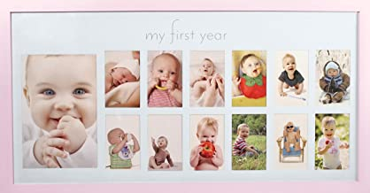 Baby's First Year Frame in Elegant Pink Natural Wood - My First Year Baby Girl Picture Frame for Photo Memories