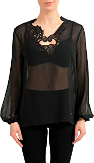 Collection Black Long Sleeve See Through Women's Blouse Top US S IT 40