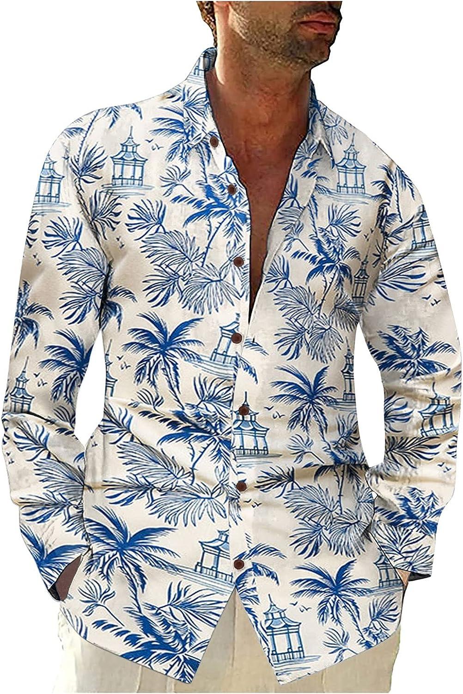 Misaky Mens Floral Print Shirt Long Sleeve Vintage Lapel Flower Casual Button Down Shirt