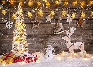 DANIU Christmas Theme Backdrops Wood Christmas Deer Shining Stars Christmas Tree Kid Children's Holiday Photography Background Photo Studio Props