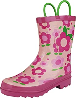 6172b0684696 Puddle Play Kids Girls' Flower Printed Waterproof Easy-On Rubber Rain Boots  (Toddler