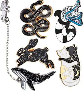 5 Pieces Enamel Lapel Pin Set Skeleton Rabbit Brooch Cat Snake Pattern Pins Astronaut Whale Badge with Chains