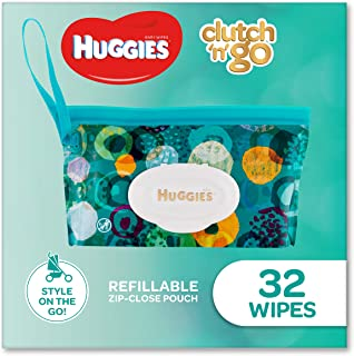 HUGGIES Baby Wipes Refillable Clutch `N' Go, 32 Wipes