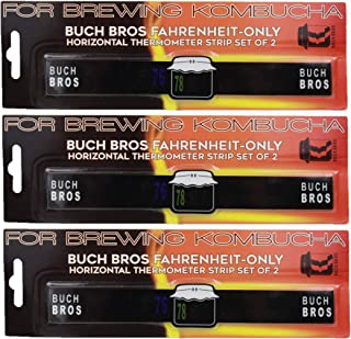 Buch Bros Kombucha Thermometer Strips   6-Pack   Horizontal Reading   Fahrenheit-Only   Also Ideal for Aquariums, Homebrewing Beer and Wine, Aquaponics, etc