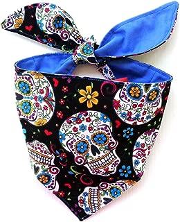 Tie On Cat Dog Bandana Bib Headband Headwrap Sugar Skull Day of the Dead Cinco de Mayo