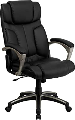 Flash Furniture High Back Folding Black LeatherSoft Executive Swivel Office Chair with Arms