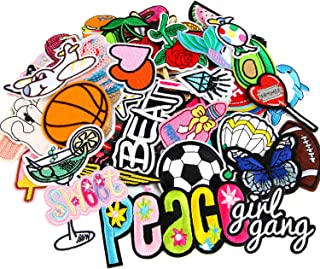 60pcs Random Assorted Styles Outdoors Embroidered Iron on Patches DIY Sew Applique Repair Patch
