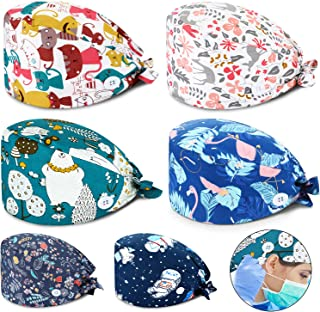 SATINIOR 6 Pieces Working Cap with Sweatband Bouffant Turban Hat with Buttons Tie Back Caps Colorful Printed Adjustable Ca...