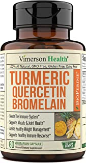 Turmeric Curcumin Bromelain Quercetin Bioperine. Occasional Joint Discomfort Relief Supplement. Antioxidant Properties for Immune, Heart, Digestive Health. Supports Balanced Inflammatory Response.