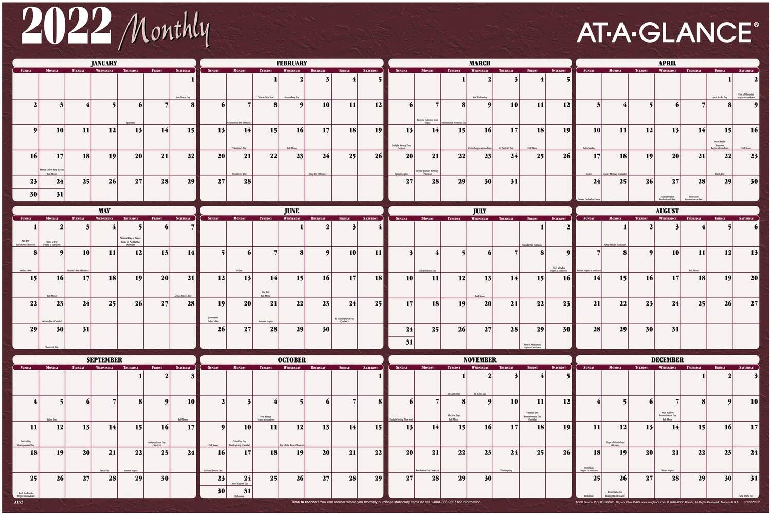 2022 unisex Erasable Calendar Ranking TOP17 Dry Erase Wall 4 Planner by AT-A-GLANCE