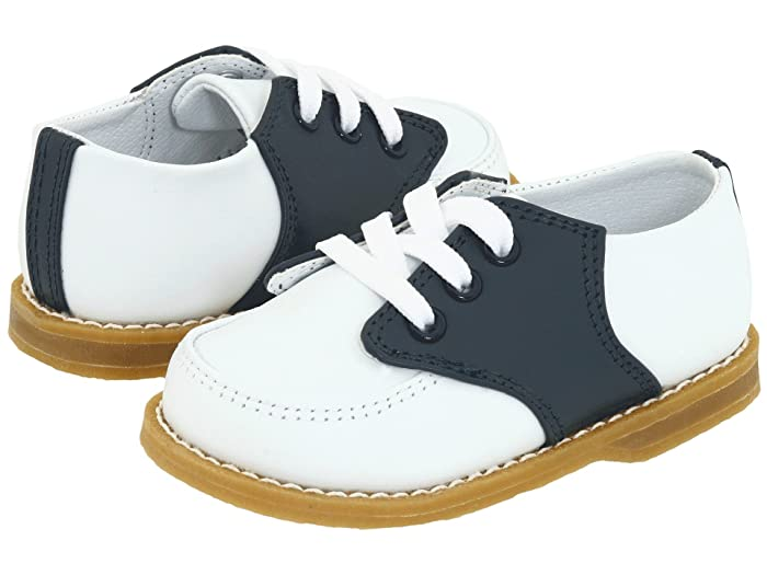 1930s Childrens Fashion: Girls, Boys, Toddler, Baby Costumes Baby Deer Conner Toddler White And Navy Saddle Leather Boys Shoes $42.99 AT vintagedancer.com