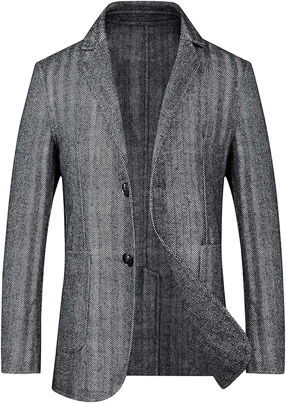 Men's 2 Button Herringbone Wool Blend Blazer Jacket Sport Coat