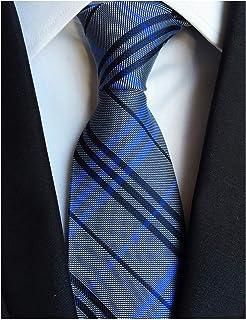 4631f0eab75d Elfeves Men Modern Tartan Formal Ties Checks Plaid Gingham Pattern Woven  Necktie