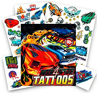Race Car Tattoos ~ 50 Car Temporary Tattoos featuring Racecars, Motorcycles, Trucks, and More
