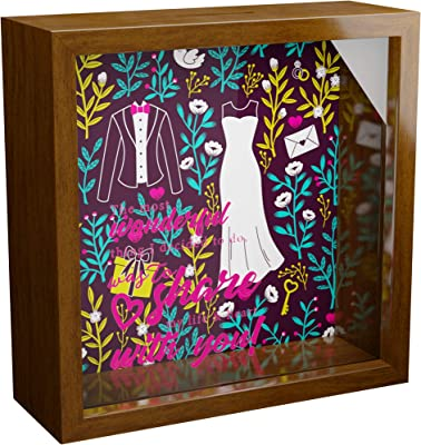 Engagement Gifts for Couples | 6x6x2 Wooden Shadow Box | Glass Fronted Keepsake for Newly Engaged Couple | Wall Decor Memorabilia Gift | Perfect to Collect Special Items