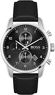 Hugo Boss Black Men'S Black Dial Black Leather Watch - 1513782