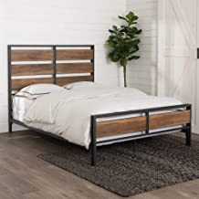 WE Furniture Wood Plank Metal Queen Size Bed Frame Bedroom, Brown Reclaimed Barnwood