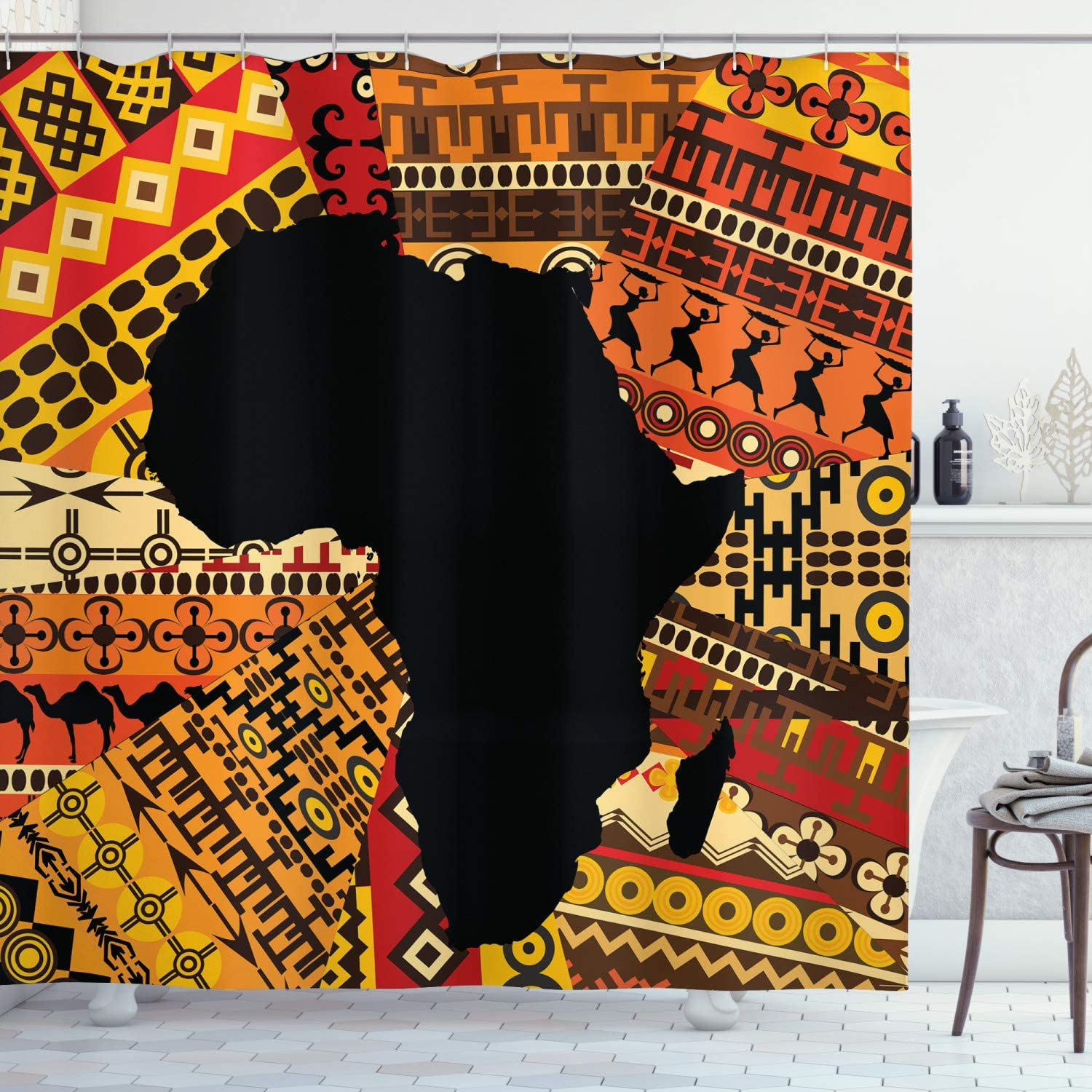 Ambesonne 67% OFF of Animer and price revision fixed price African Shower Curtain Abstract Style Map B on Carpet