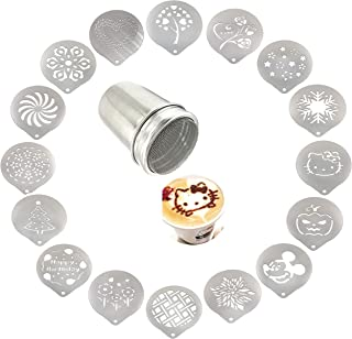 Lofekea Stainless Steel Powder Shakers Coffee Cocoa Cinnamon Shaker Cans Mesh Duster With 16PCS Stainless Steel Barista Co...
