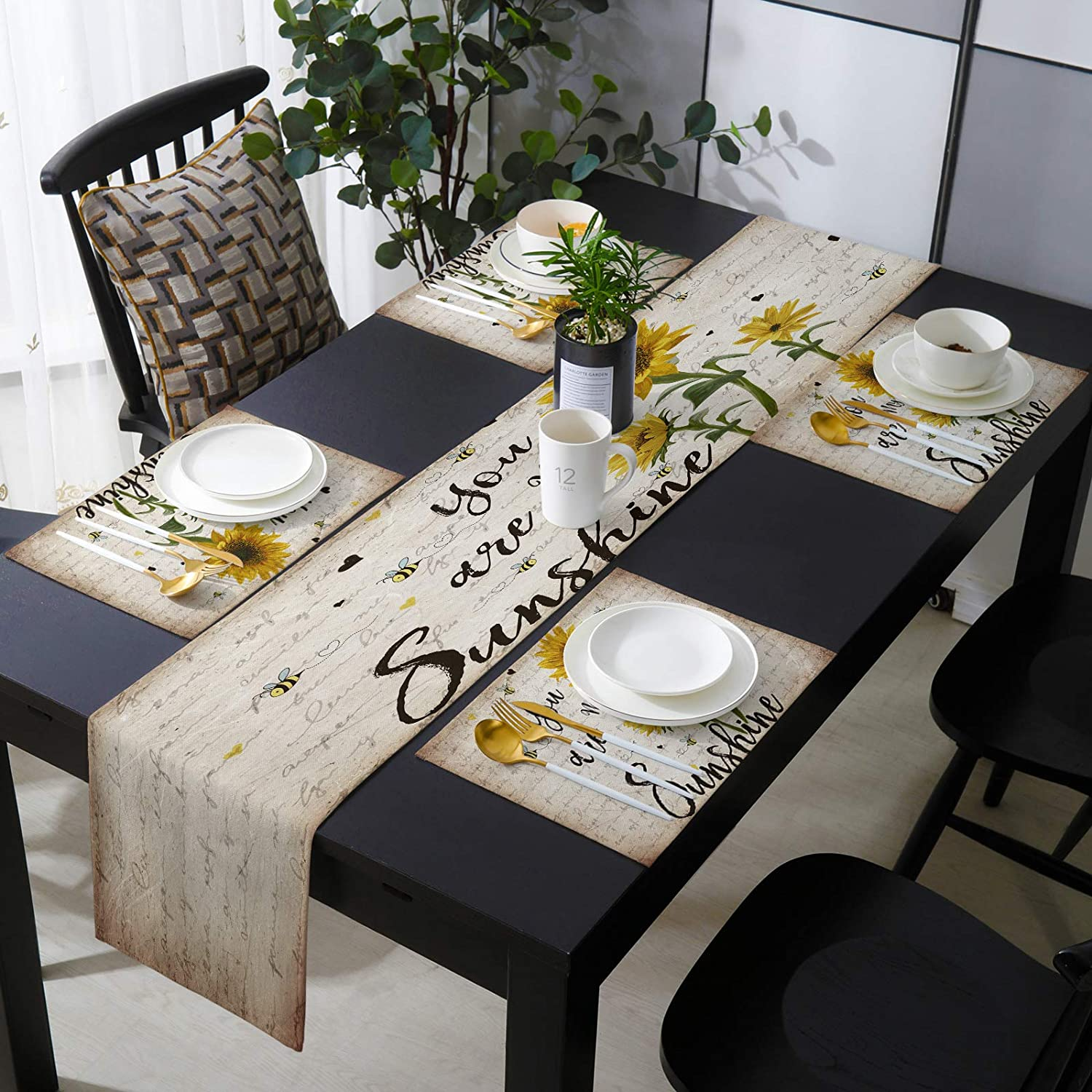 KAROLA Table Max 76% OFF Runner and Placemats Excellence Set You My are of Sunflowers 6