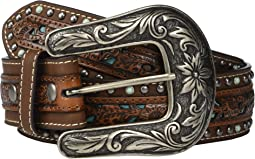 Nocona Pierced Center Overlay w/ Studded Edges Belt