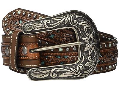 M&F Western Nocona Pierced Center Overlay w/ Studded Edges Belt (Brown/Turquoise) Women