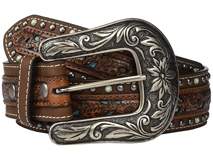 M&F Western Nocona Pierced Center Overlay w/ Studded Edges Belt (Brown/Turquoise) Women
